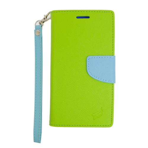 Insten Folio Leather Case Lanyard w/stand/card holder For Samsung Galaxy Note 5, Green/Light Blue