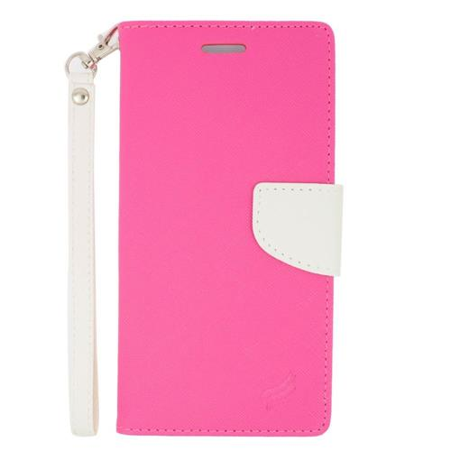 Insten Folio Leather Fabric Case Lanyard w/stand/card holder For Samsung Galaxy Note 5, Pink/White