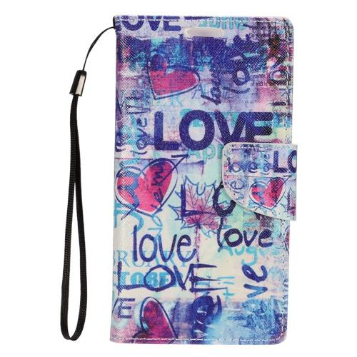 Insten Love Leather Fabric Case Lanyard w/stand/card holder For Samsung Galaxy S7 Edge, Colorful