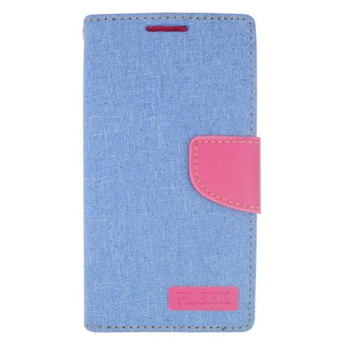 Insten Leather Case w/stand/card holder For LG Destiny/Leon/Power/Risio/Tribute 2, Light Blue/Pink