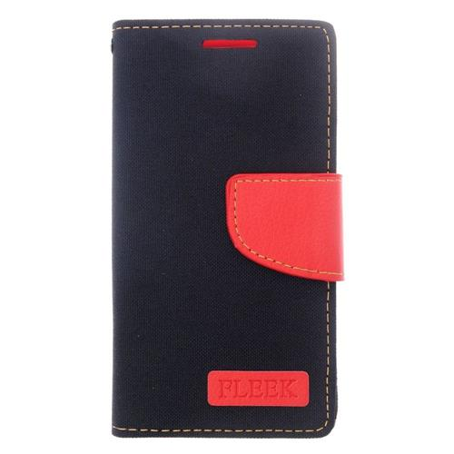 Insten Folio Leather Case w/stand/card slot For LG Destiny/Leon/Power/Risio/Tribute 2, Black/Red