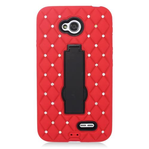 Insten Hybrid Rubber Case w/stand For LG Optimus Exceed 2 VS450PP/Optimus L70/Realm, Red/Black