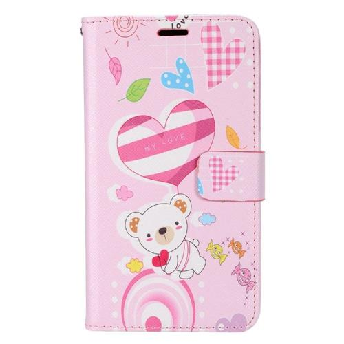 Insten Bear Flip Leather Case w/stand/card slot For LG Destiny/Leon/Power/Risio/Tribute 2, Colorful