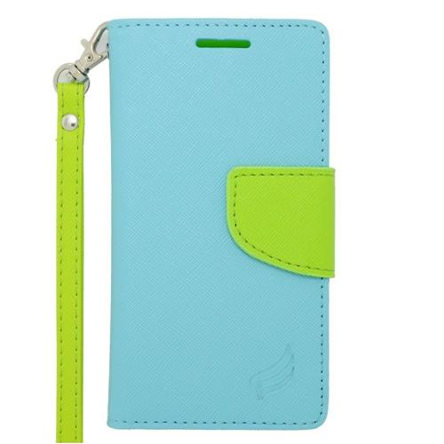 Insten Flip Leather Case w/stand/card slot/Photo Display For LG Optimus F6 MS500, Light Blue/Green