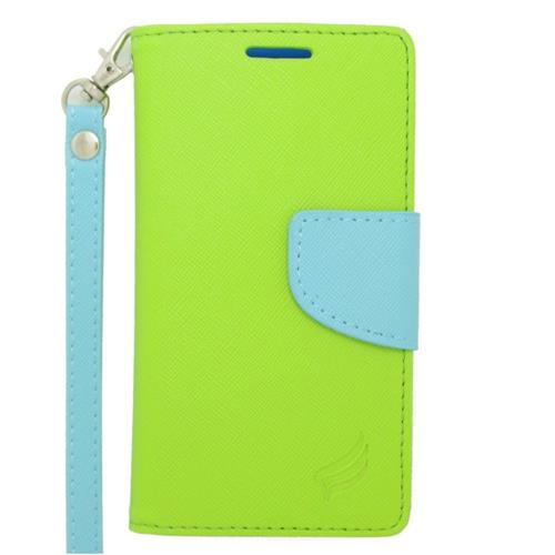 Insten Flip Leather Case Lanyard w/stand/card holder For LG Optimus F6 MS500, Green/Light Blue