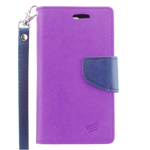 Insten Folio Leather Case Lanyard w/stand/card holder/Photo Display For LG Escape 2, Purple/Blue