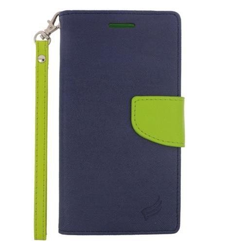 Insten Leather Fabric Case Lanyard w/stand/card slot/Photo Display For LG G4, Dark Blue/Green