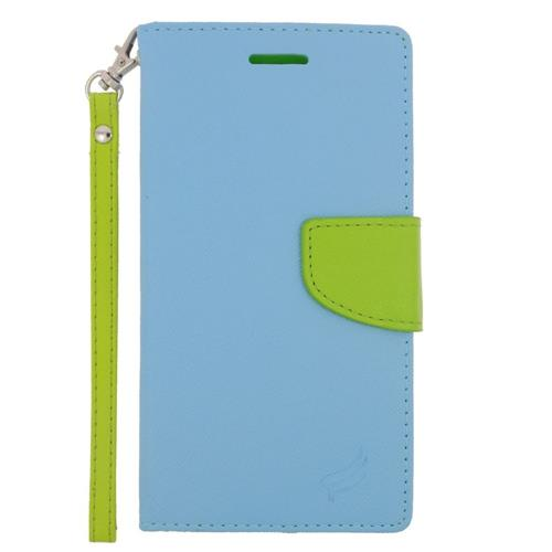 Insten Folio Leather Case Lanyard w/stand/card slot/Photo Display For LG G4, Light Blue/Green