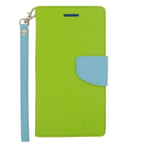Insten Flip Leather Fabric Case Lanyard w/stand/card slot/Photo Display For LG G4, Green/Light Blue
