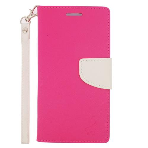 Insten Folio Leather Fabric Case Lanyard w/stand/card slot/Photo Display For LG G4, Pink/White