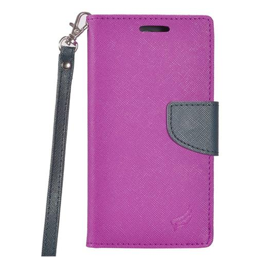 Insten Flip Leather Fabric Case Lanyard w/stand/card slot/Photo Display For LG G5, Purple/Blue