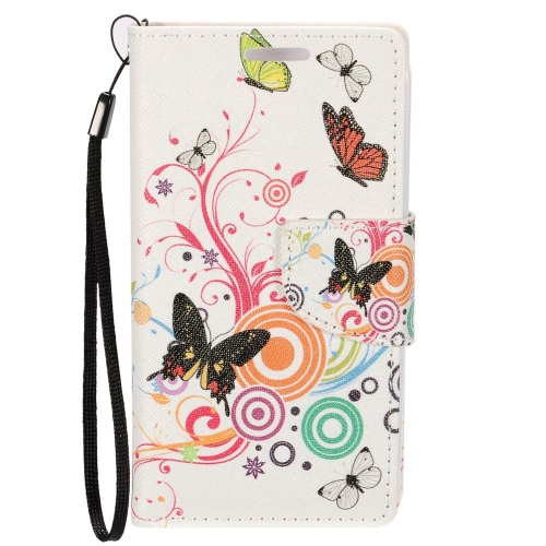 Insten Butterfly Leather Case Lanyard w/stand/card holder For LG Optimus Zone 3/Spree, Colorful