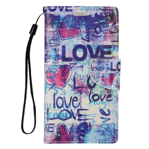 Insten Love Leather Fabric Case Lanyard w/stand/card holder For LG Optimus Zone 3/Spree, Colorful