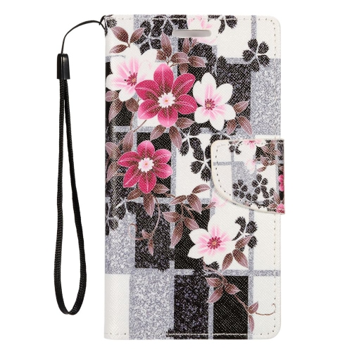 Insten Flowers Leather Case Lanyard w/stand/card holder For LG Optimus Zone 3/Spree, Colorful