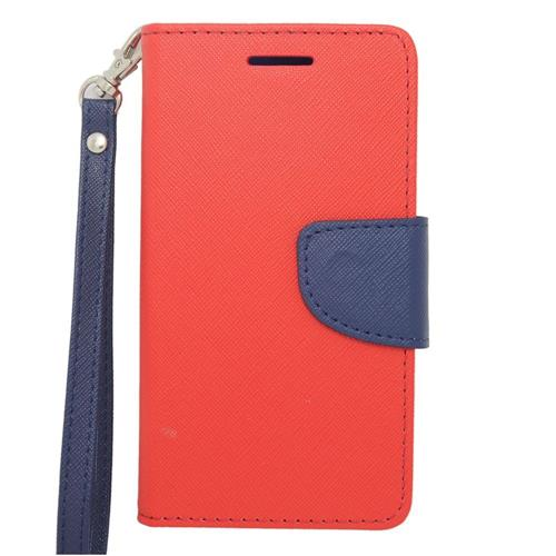 Insten Folio Leather Case Lanyard w/stand/card slot/Photo Display For LG Lucid 3 VS876, Red/Blue