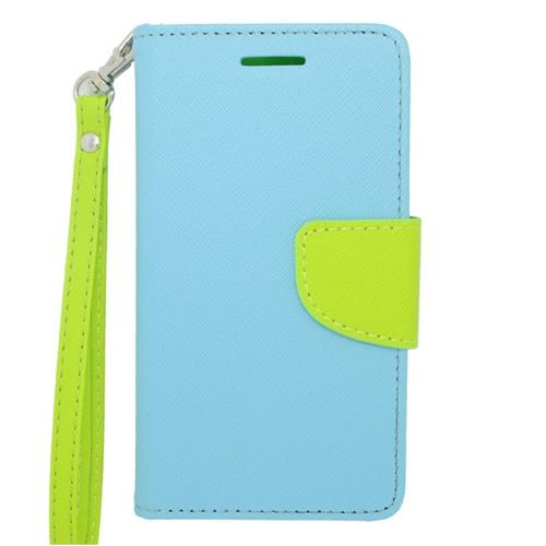 Insten Leather Case Lanyard w/stand/card slot/Photo Display For LG Lucid 3 VS876, Light Blue/Green