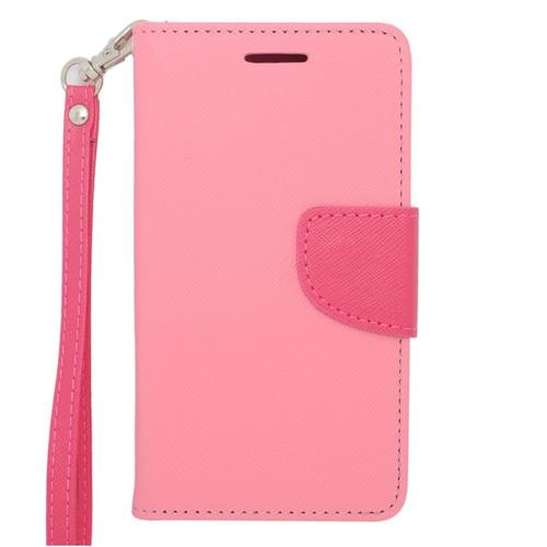 Insten Leather Case Lanyard w/stand/card slot/Photo Display For LG Lucid 3 VS876, Pink/Hot Pink