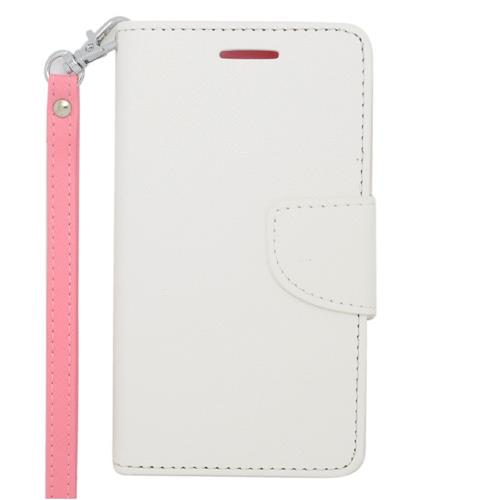 Insten Leather Fabric Case Lanyard w/stand/card slot/Photo Display For LG Lucid 3 VS876, White/Pink
