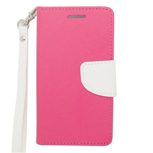 Insten Leather Case Lanyard w/stand/card holder/Photo Display For LG Lucid 3 VS876, Pink/White