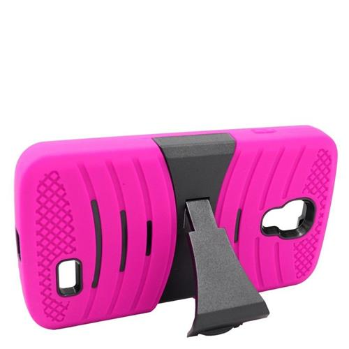 Insten Wave Hybrid Stand Rubber Silicone/PC Case For LG F70 D315, Hot Pink/Black