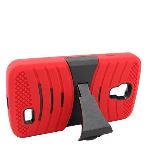 Insten Wave Hybrid Stand Rubber Silicone/PC Case For LG F70 D315, Red/Black