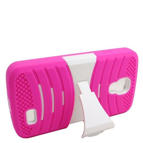 Insten Wave Hybrid Stand Rubber Silicone/PC Case For LG F70 D315, Hot Pink/White