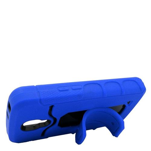 Insten Hybrid Stand Rubber Silicone/PC ID/Card Slot Case For LG F70 D315, Blue/Black