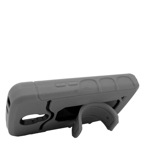 Insten Hybrid Stand Rubber Silicone/PC ID/Card Slot Case For LG F70 D315, Gray/Black