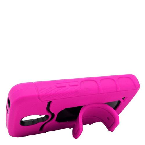 Insten Hybrid Stand Rubber Silicone/PC ID/Card Slot Case For LG F70 D315, Hot Pink/Black