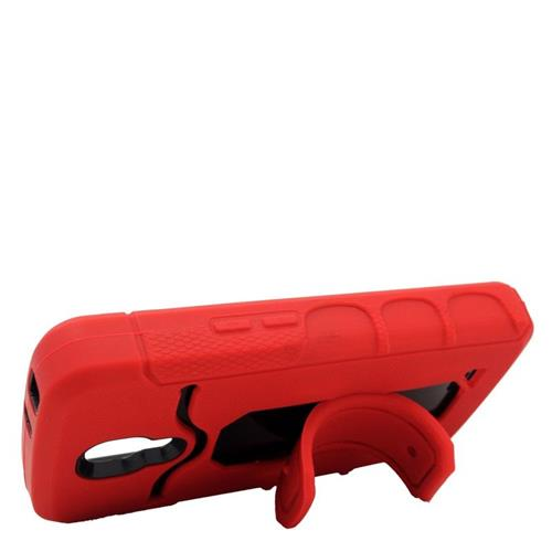 Insten Hybrid Stand Rubber Silicone/PC ID/Card Slot Case For LG F70 D315, Red/Black