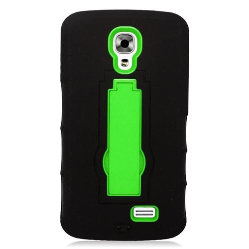 Insten Hybrid Stand Rubber Silicone/PC Case For LG F70 D315, Black/Green