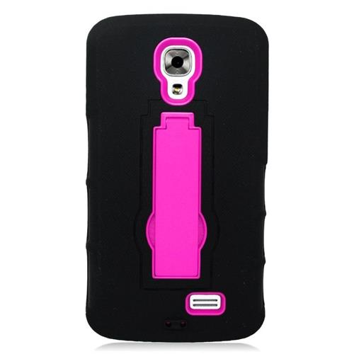 Insten Hybrid Stand Rubber Silicone/PC Case For LG F70 D315, Black/Hot Pink
