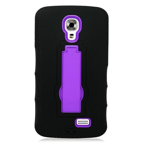 Insten Hybrid Stand Rubber Silicone/PC Case For LG F70 D315, Black/Purple