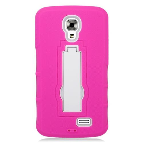 Insten Hybrid Stand Rubber Silicone/PC Case For LG F70 D315, Hot Pink/White