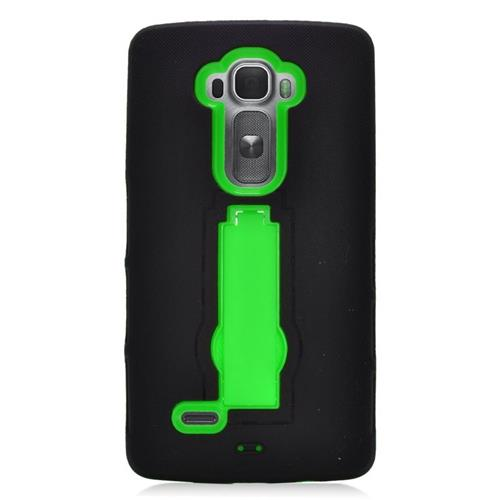 Insten Hybrid Stand Rubber Silicone/PC Case For LG G Flex 2, Black/Green