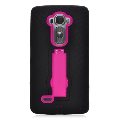 Insten Hybrid Stand Rubber Silicone/PC Case For LG G Flex 2, Black/Hot Pink