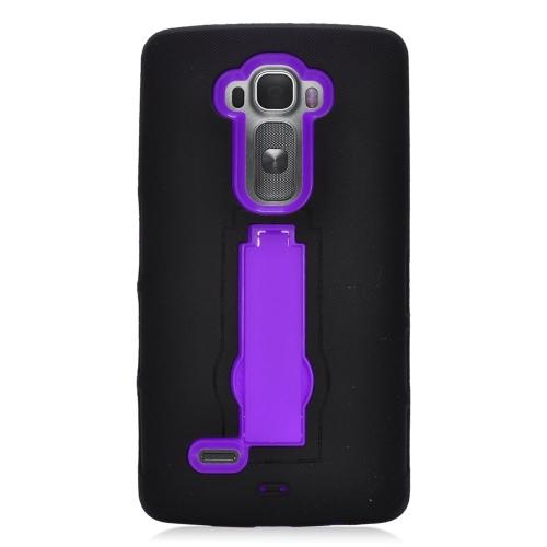 Insten Hybrid Stand Rubber Silicone/PC Case For LG G Flex 2, Black/Purple