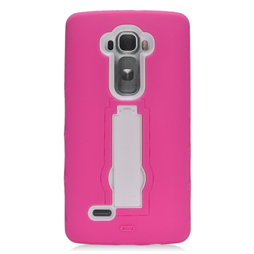 Insten Hybrid Stand Rubber Silicone/PC Case For LG G Flex 2, Hot Pink/White