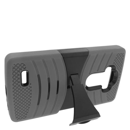Insten Wave Hybrid Stand Rubber Silicone/PC Case For LG G4, Gray/Black