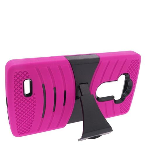Insten Wave Hybrid Stand Rubber Silicone/PC Case For LG G4, Hot Pink/Black