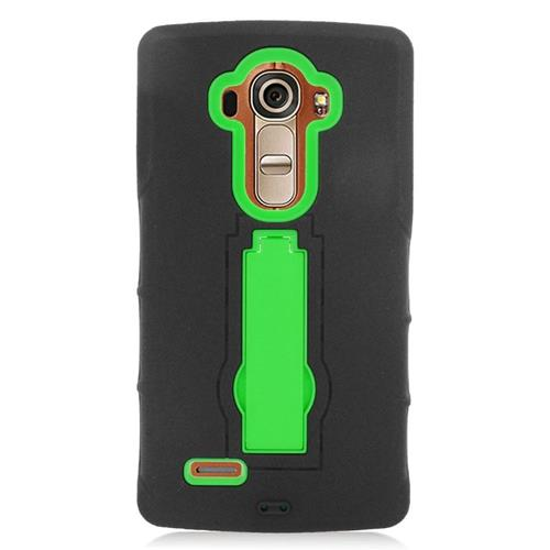 Insten Hybrid Stand Rubber Silicone/PC Case For LG G4, Black/Green