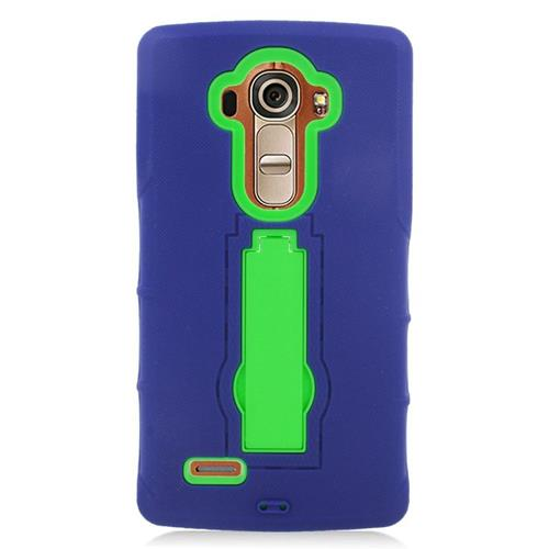 Insten Hybrid Stand Rubber Silicone/PC Case For LG G4, Blue/Green