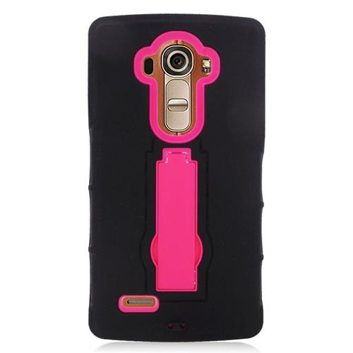 Insten Hybrid Stand Rubber Silicone/PC Case For LG G4, Black/Hot Pink