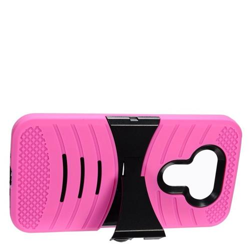Insten Wave Hybrid Stand Rubber Silicone/PC Case For LG G5, Hot Pink/Black