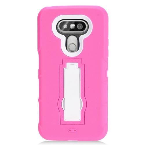 Insten Fitted Soft Shell Case for LG G5 - Hot Pink;White