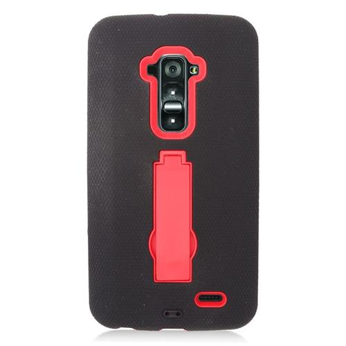 Insten Hybrid Stand Rubber Silicone/PC Case For LG G Flex, Black/Red