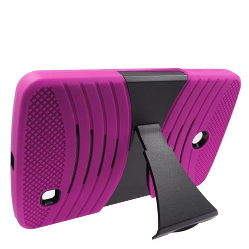 Insten Wave Hybrid Stand Rubber Silicone/PC Case For LG G Pad 7.0, Hot Pink/Black