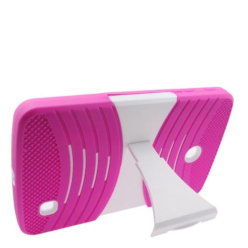 Insten Wave Hybrid Stand Rubber Silicone/PC Case For LG G Pad 7.0, Hot Pink/White