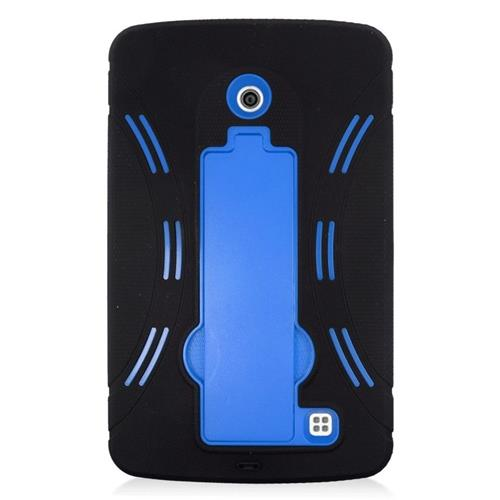 Insten Hybrid Stand Rubber Silicone/PC Case For LG G Pad 7.0, Black/Blue