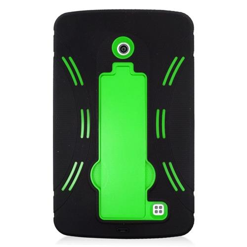 Insten Hybrid Stand Rubber Silicone/PC Case For LG G Pad 7.0, Black/Green